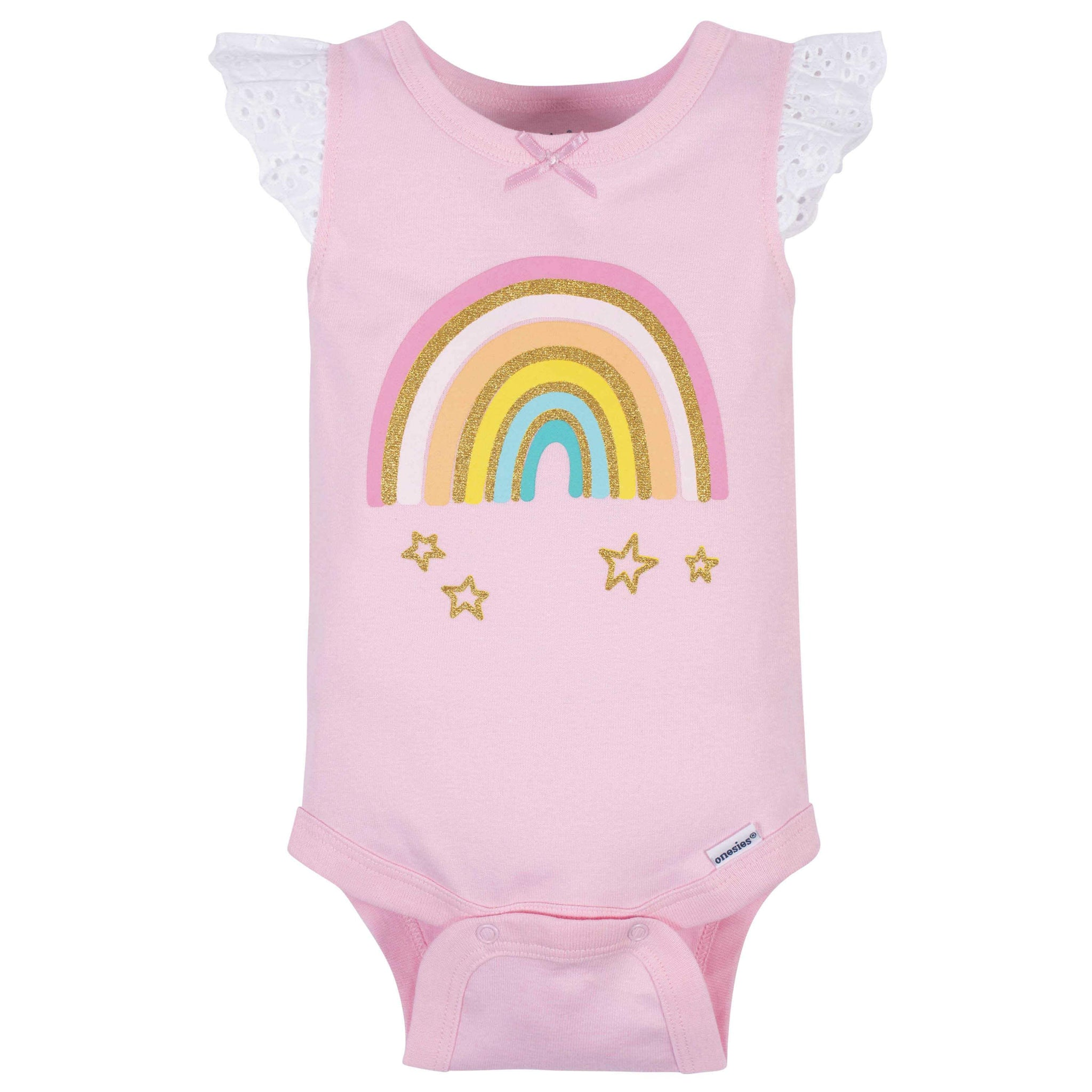 Gerber® 4-Pack Baby Girls Rainbow Sleeveless Onesies Bodysuits-Gerber Childrenswear