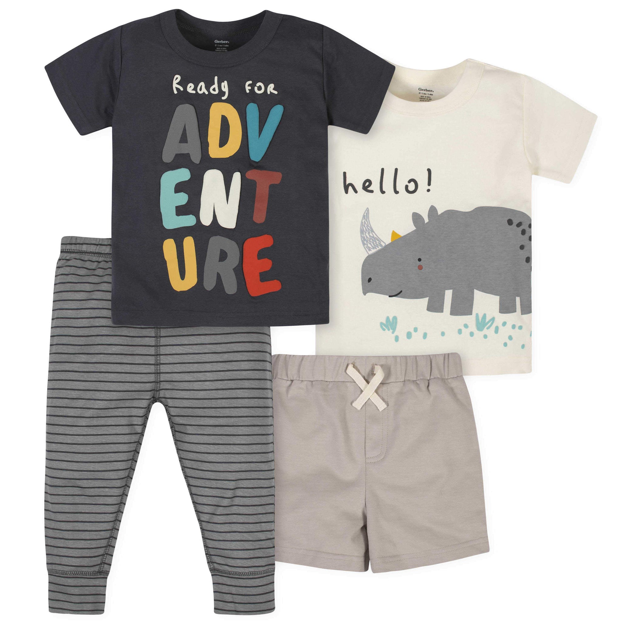 4-Piece Toddler Boys Rhino Short, Shirts, and Active Pant Set