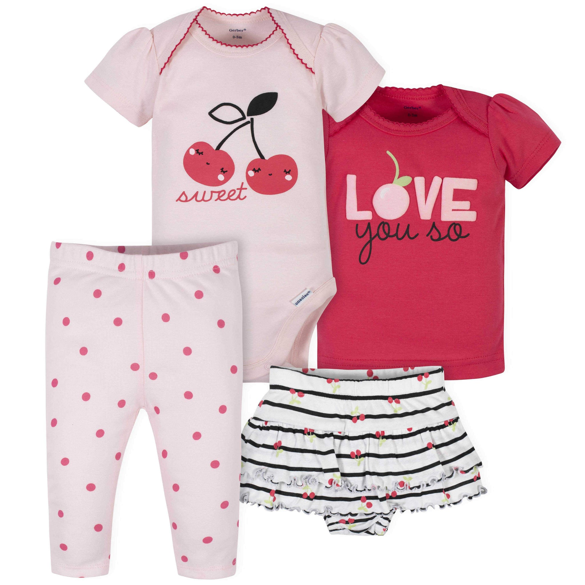 4-Piece Baby Girls Cherries Onesies Bodysuit, Skirted Panty, Shirt, and Slim Pant Set