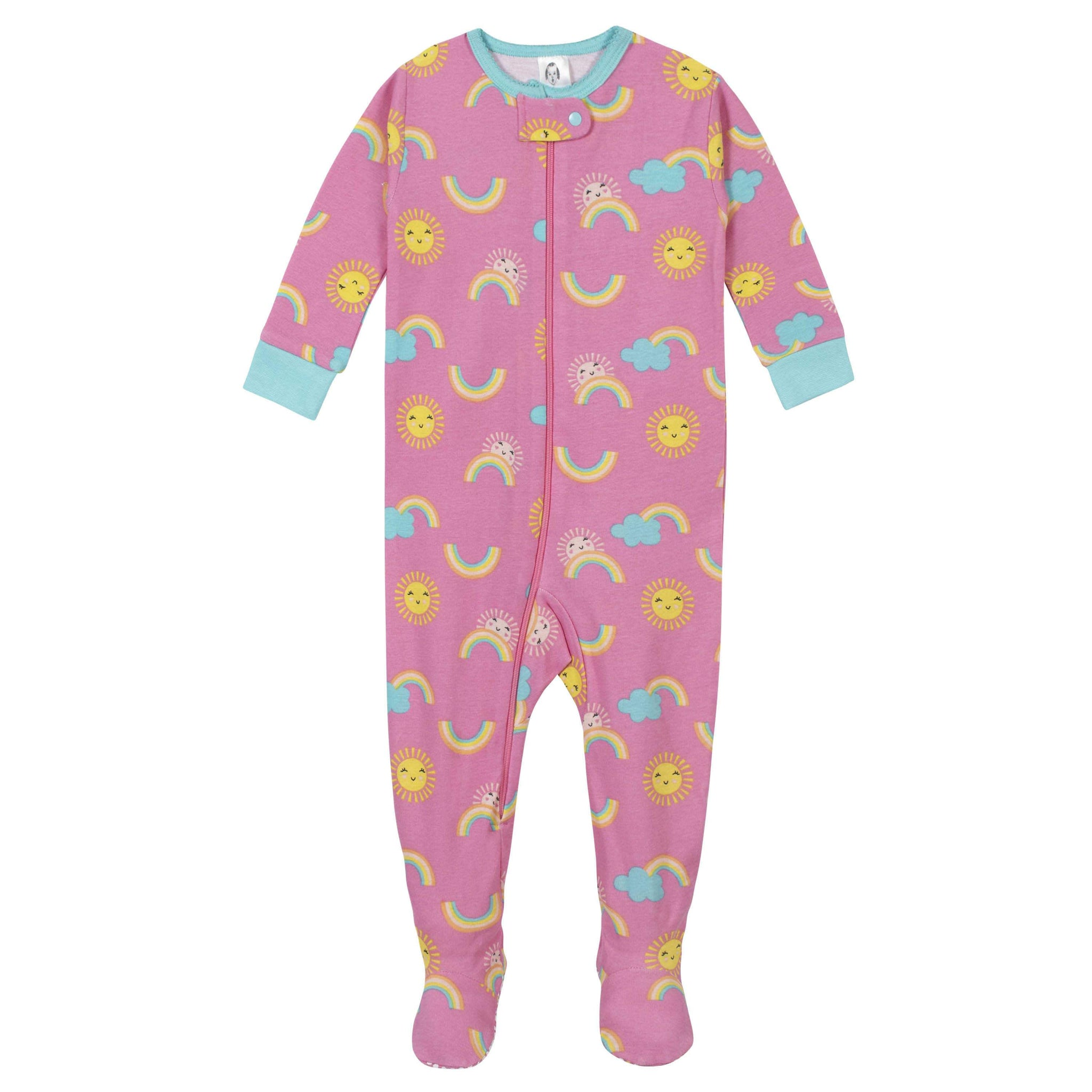 2-Pack Girls Rainbow Footed Pajamas