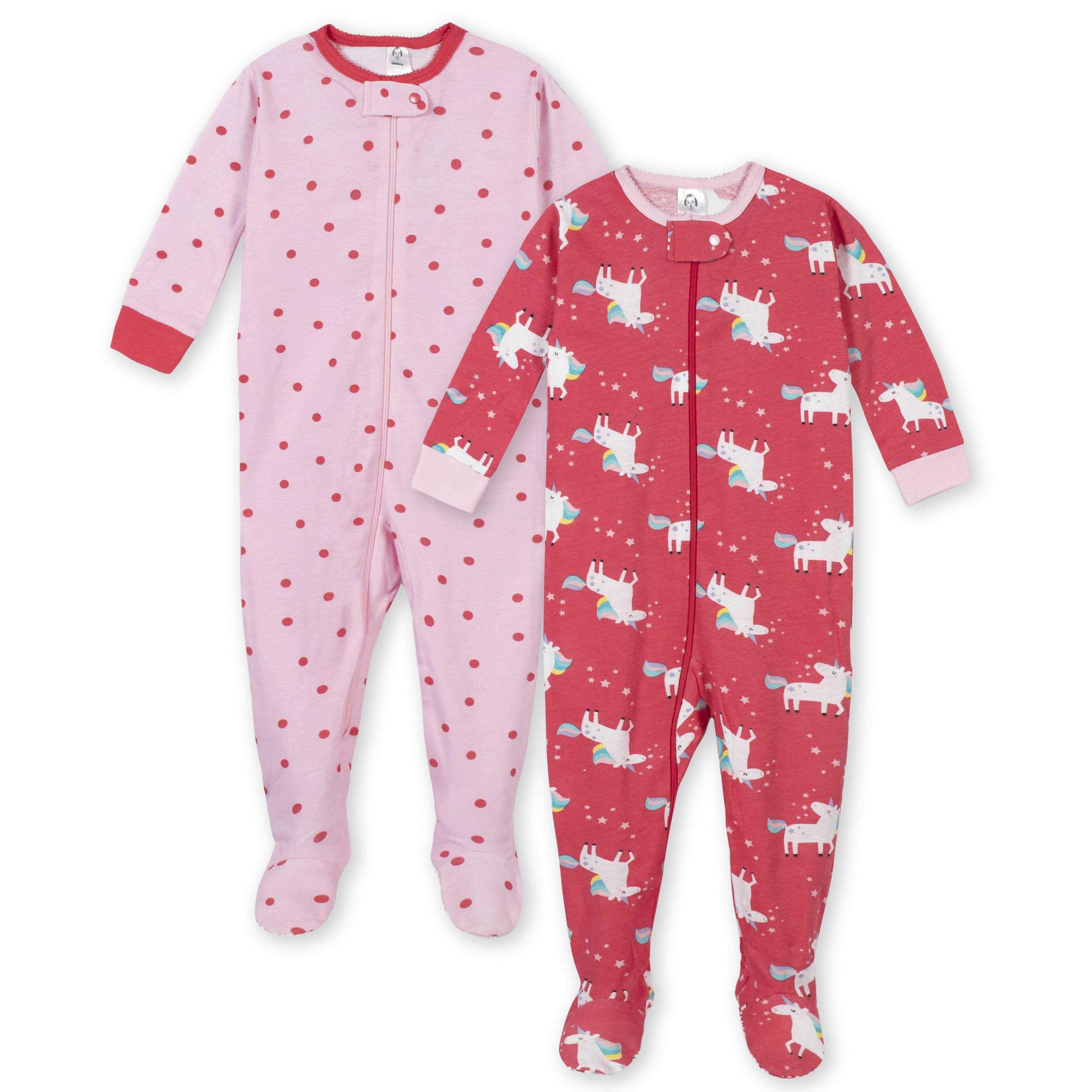 Gerber® 2-Pack Girls Unicorn Footed Pajamas-Gerber Childrenswear