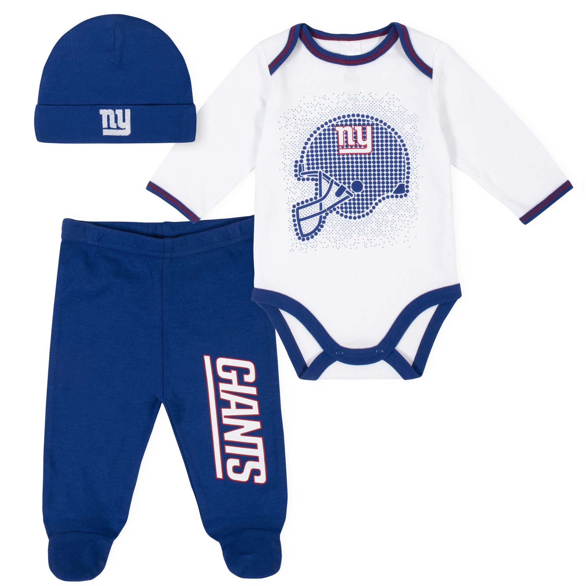 New York Giants 3-Piece Baby Boys Bodysuit, Pant, and Cap Set-Gerber Childrenswear