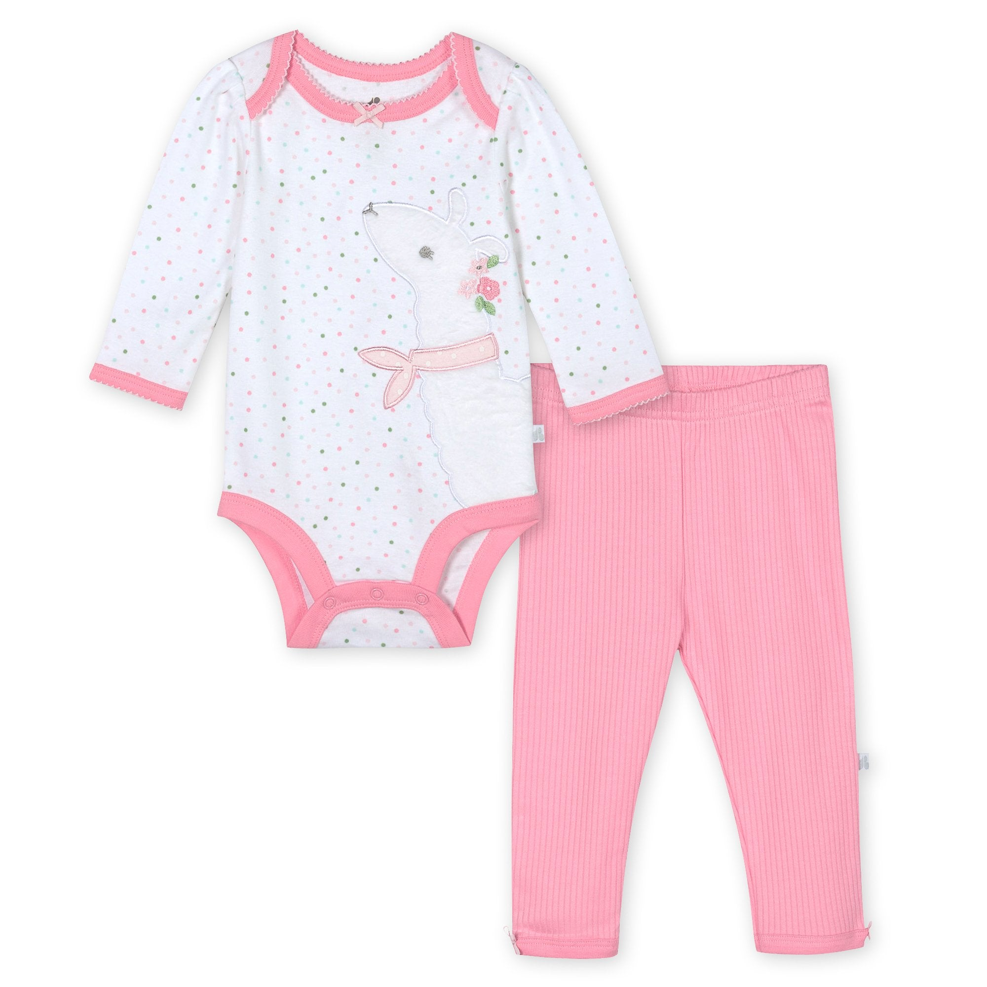 Just Born® Organic Baby Girls 2-Piece Lil' Llama Long Sleeve Bodysuit and Pant Set