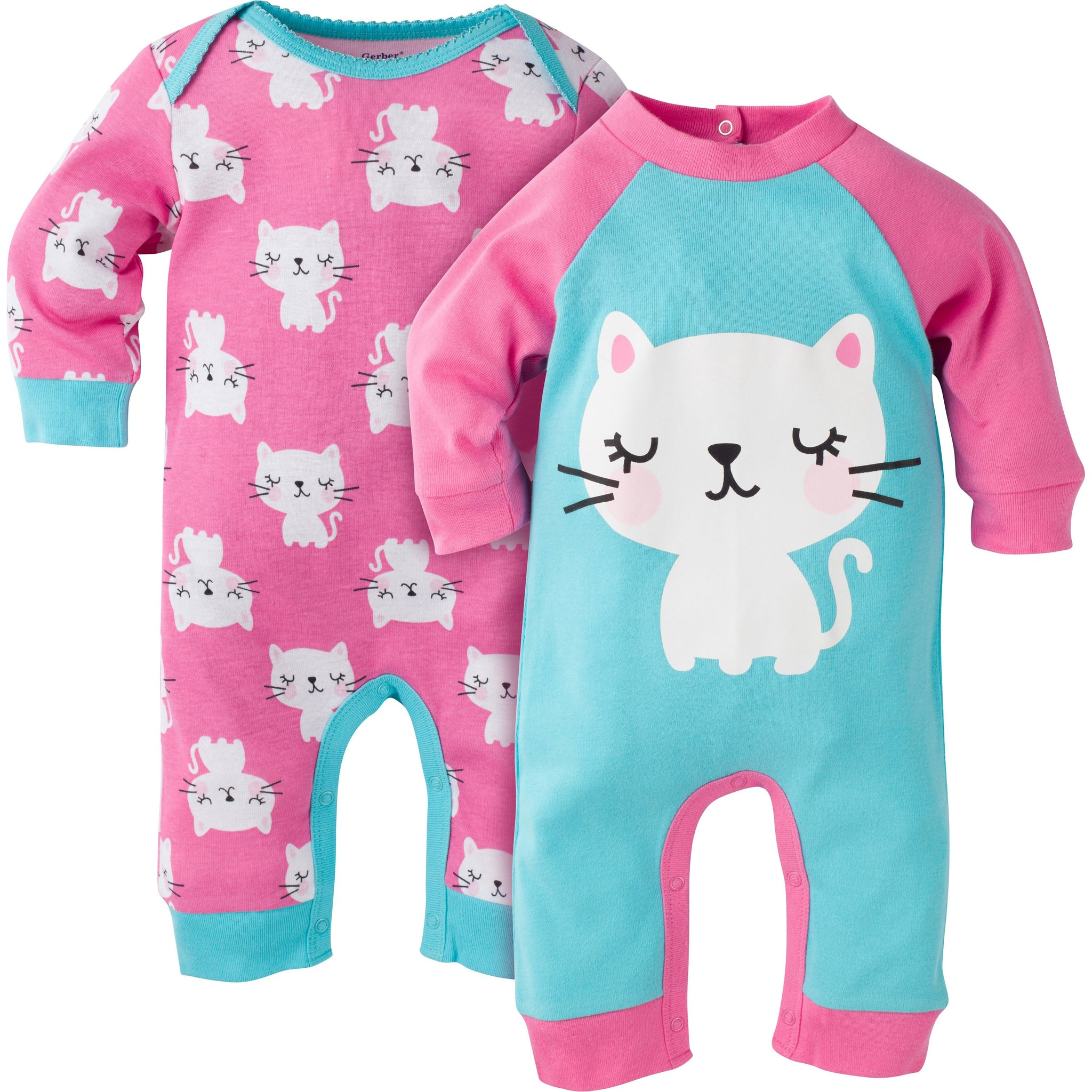 Gerber Baby Girls' 2-Pack Coverall Set, kitty