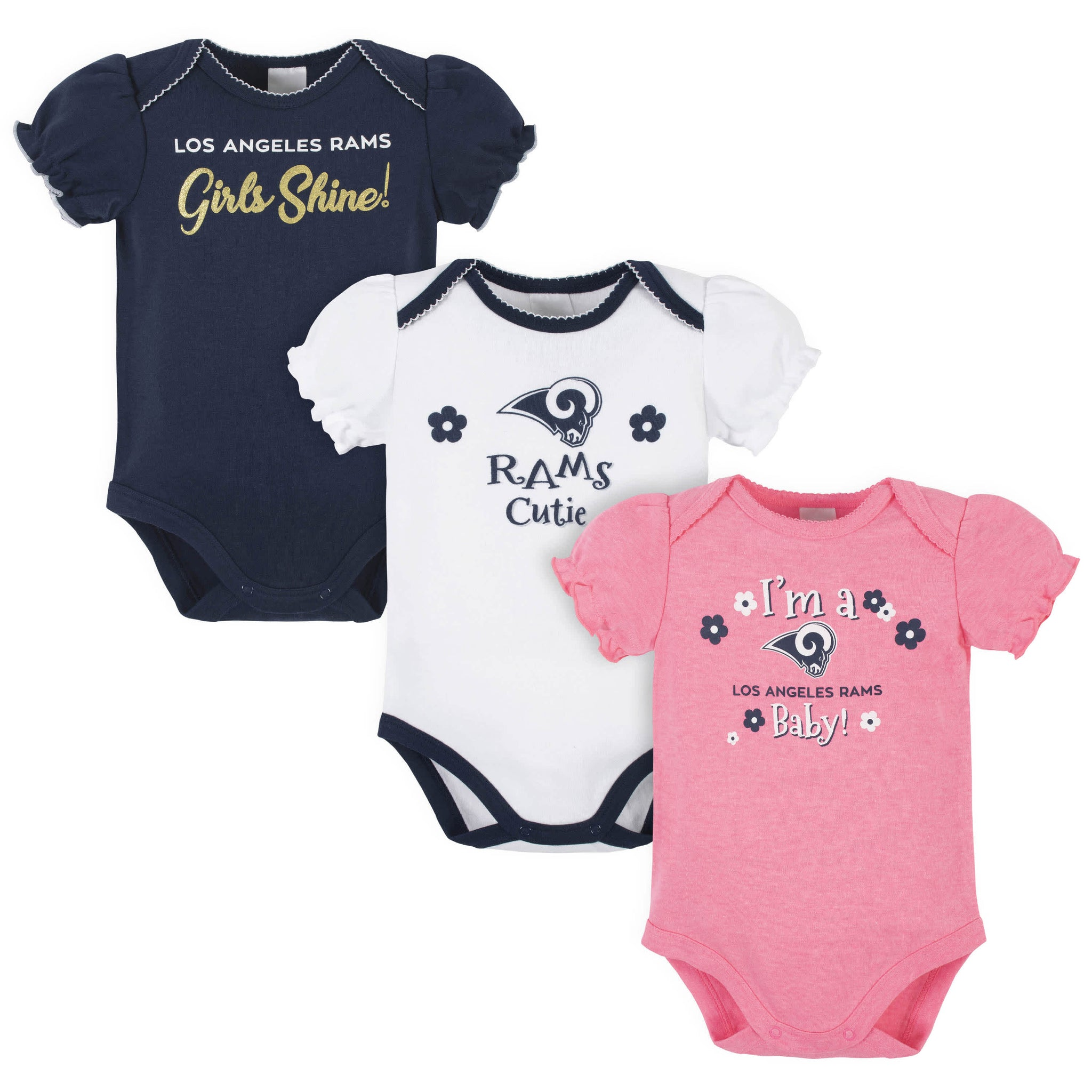 Los Angeles Rams Baby Girls Short Sleeve Bodysuits-Gerber Childrenswear