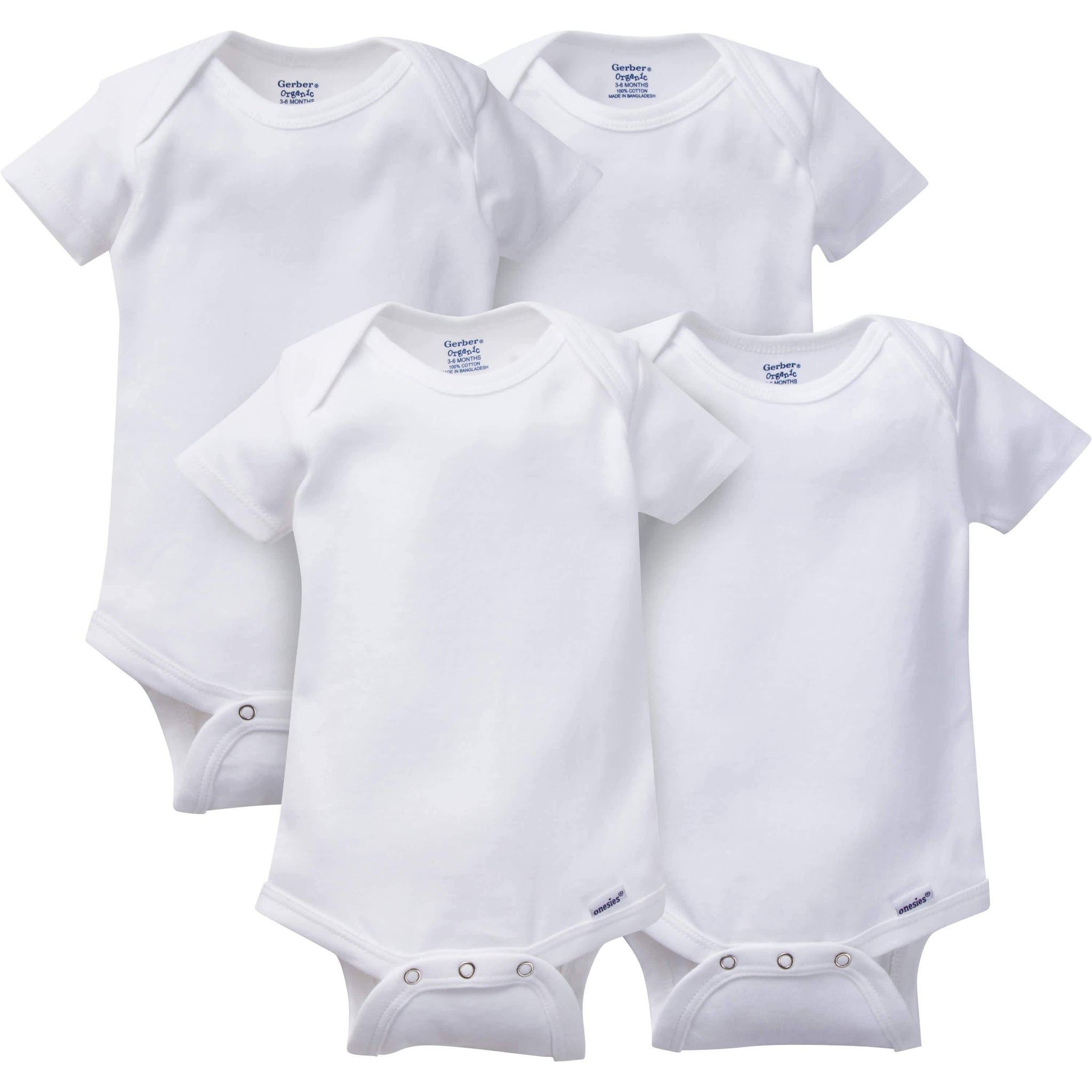 4-Pack Neutral Organic White Onesies Brand Short Sleeve Bodysuits