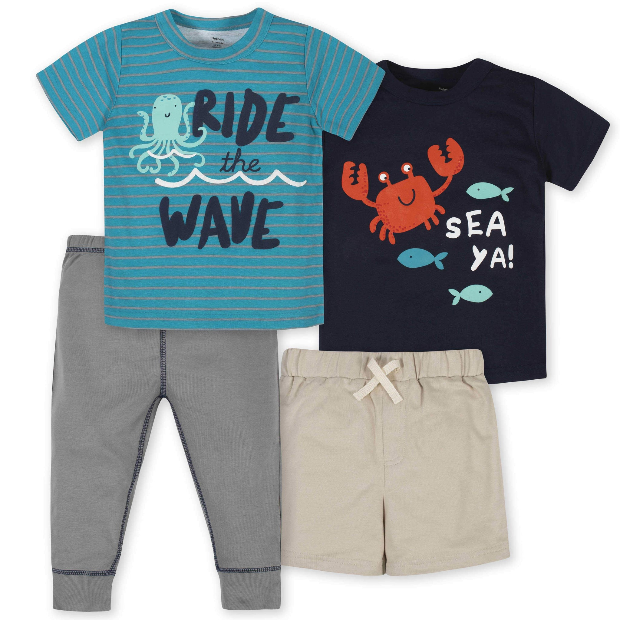 4-Piece Toddler Boys Sea Short, Shirts, and Active Pant Set