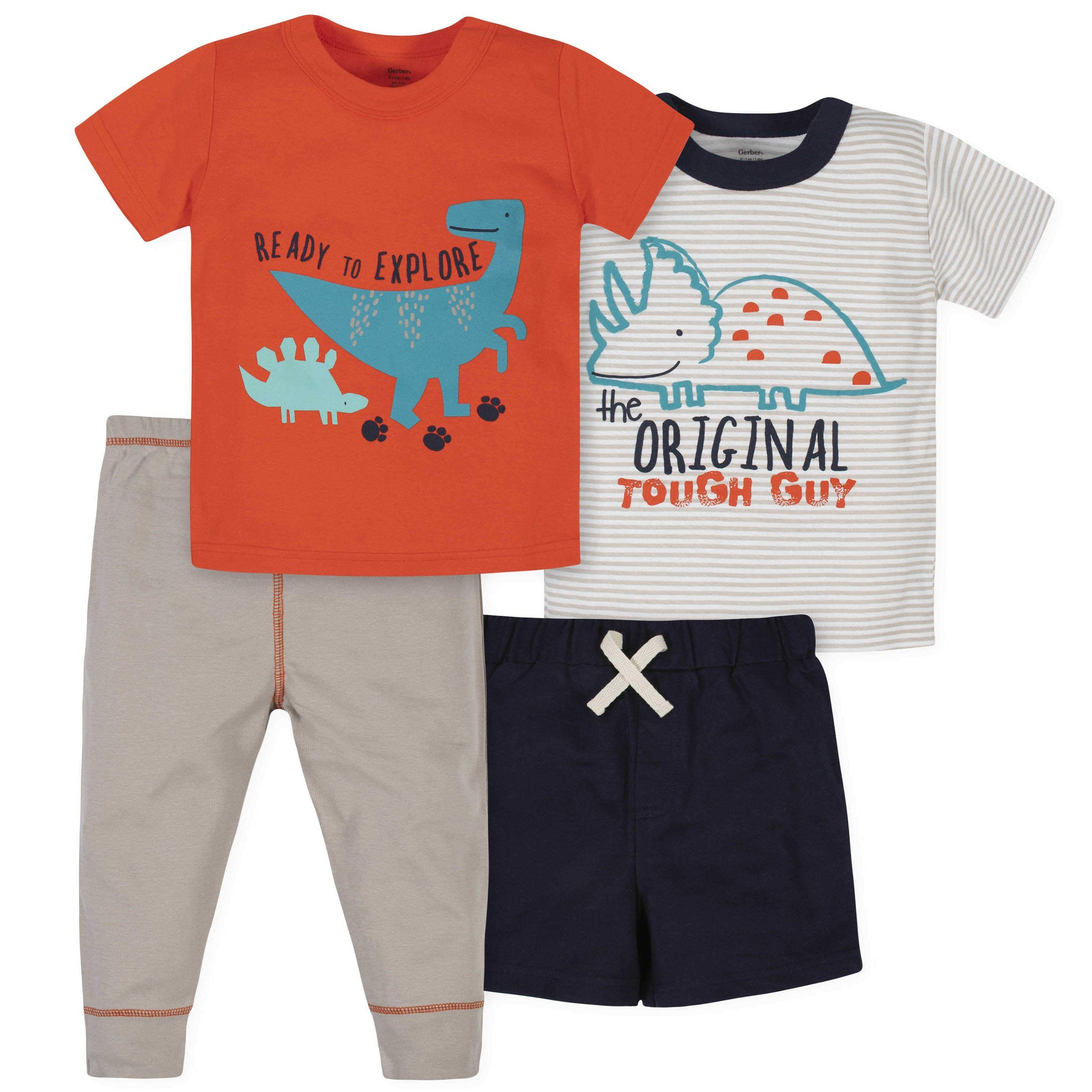 4-Piece Toddler Boys Dinosaurs Short, Shirts, and Active Pant Set
