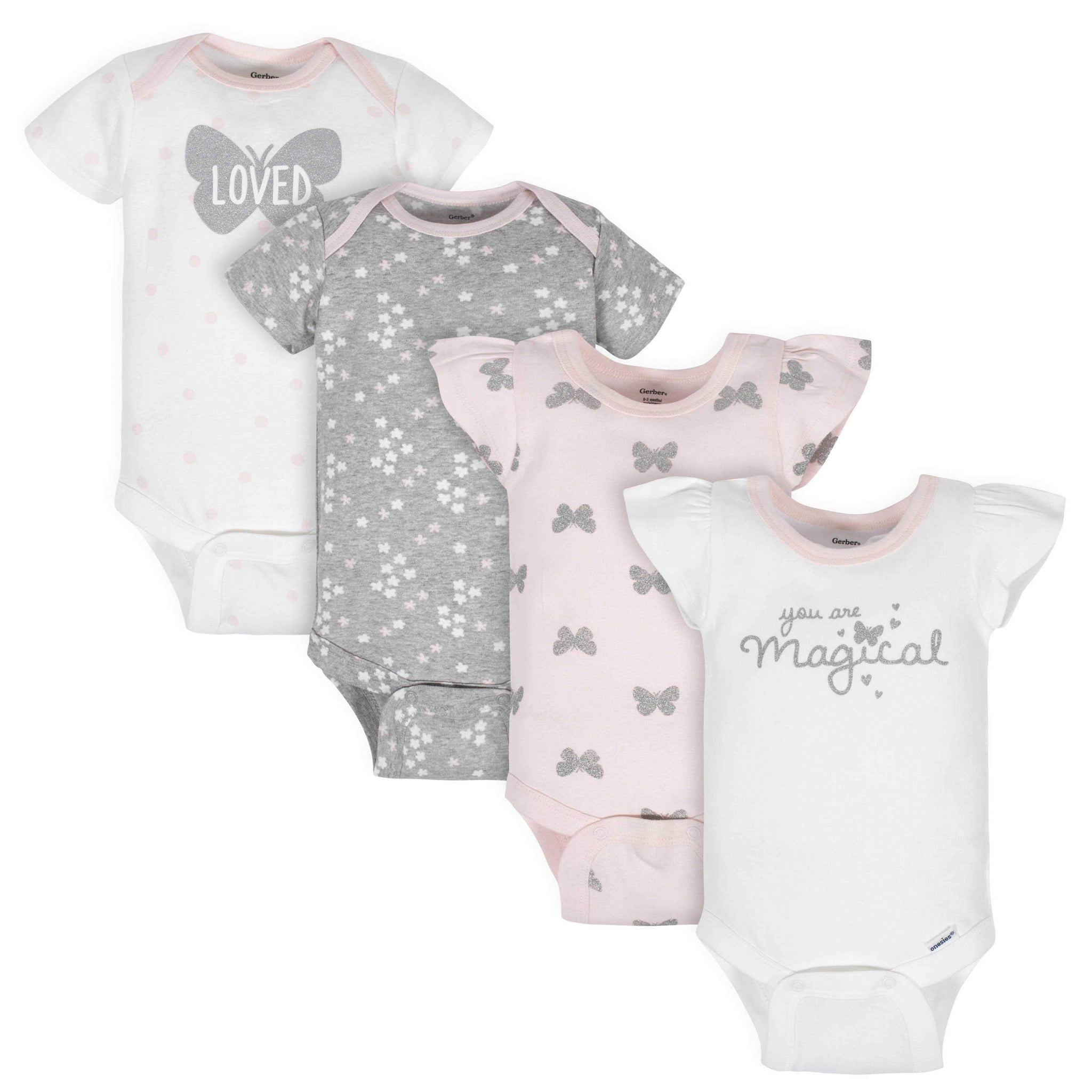 4-Pack Baby Girls Butterfly Short Sleeve Onesies Bodysuits