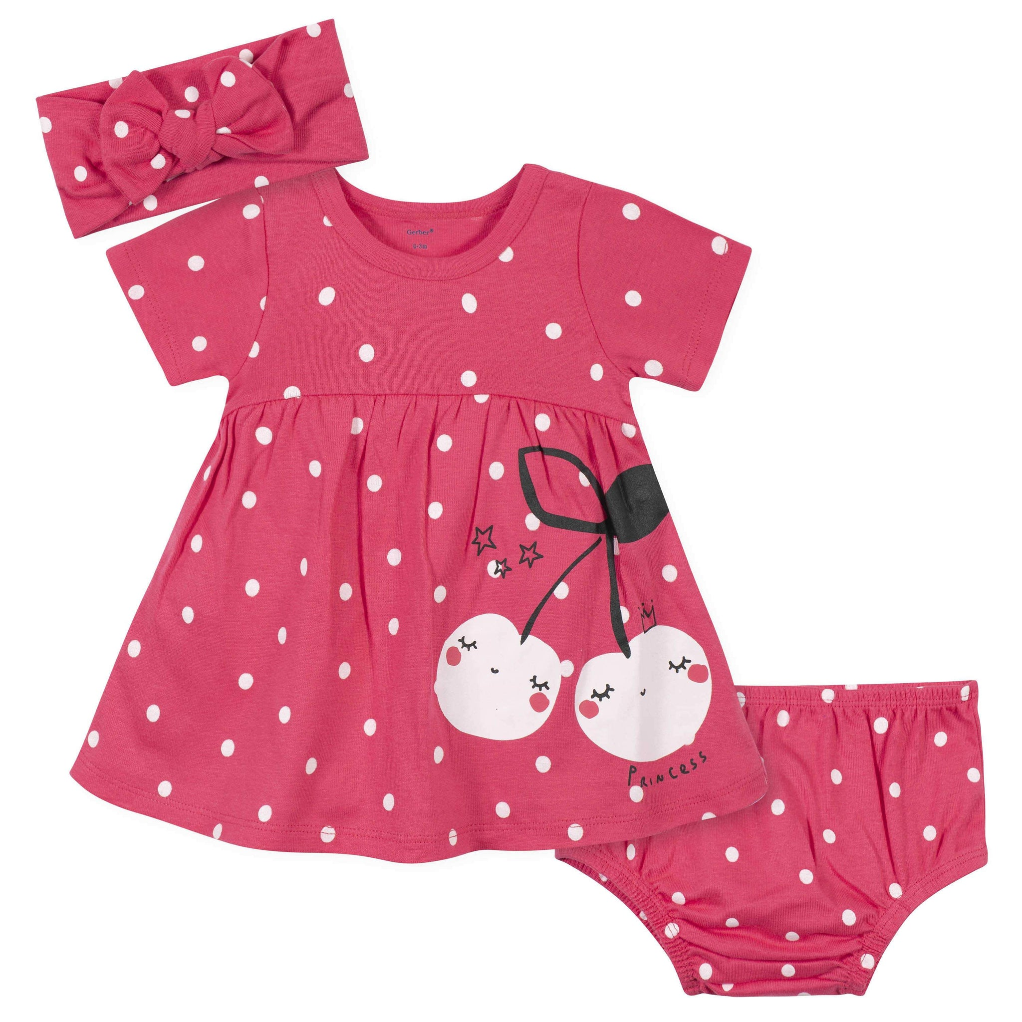 3-Piece Baby Girls Cherry Dots Dress, Diaper Cover, and Headband Set