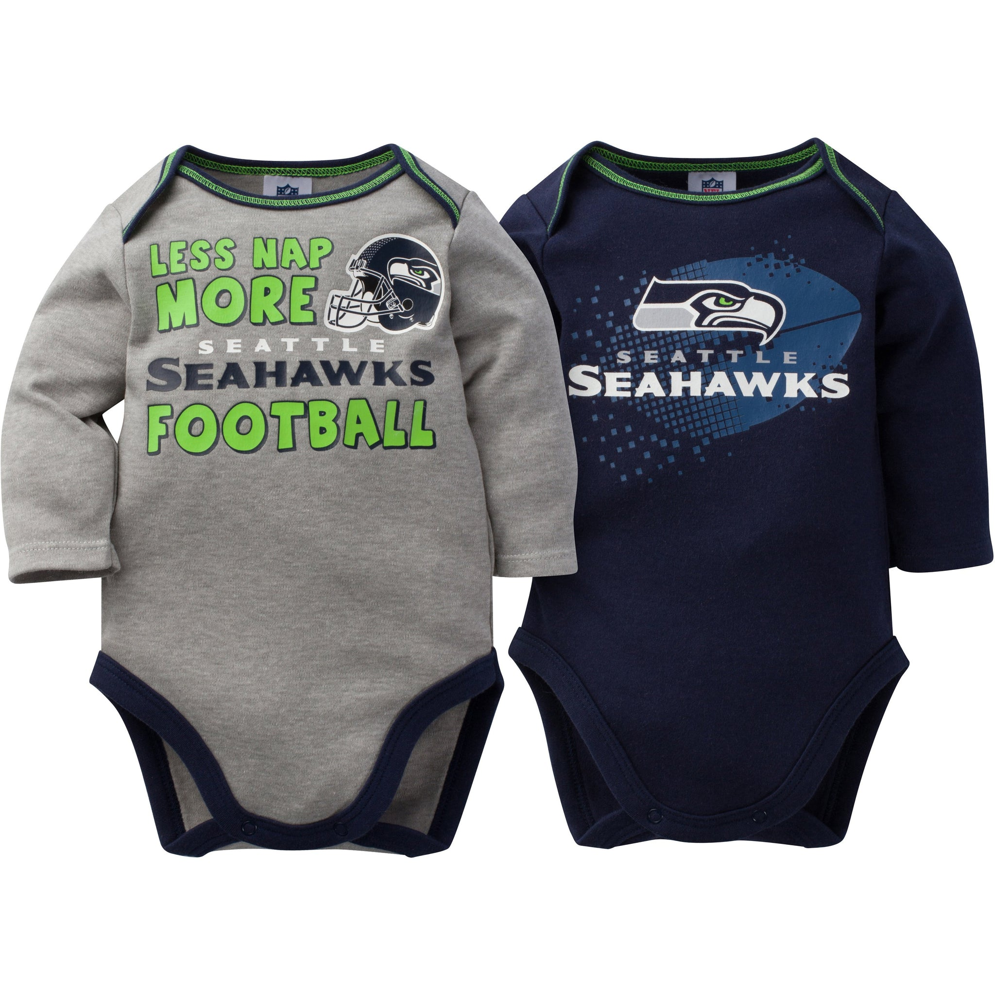 NFL Seahawks 2-Pack Infant Long Sleeve Bodysuits-Gerber Childrenswear