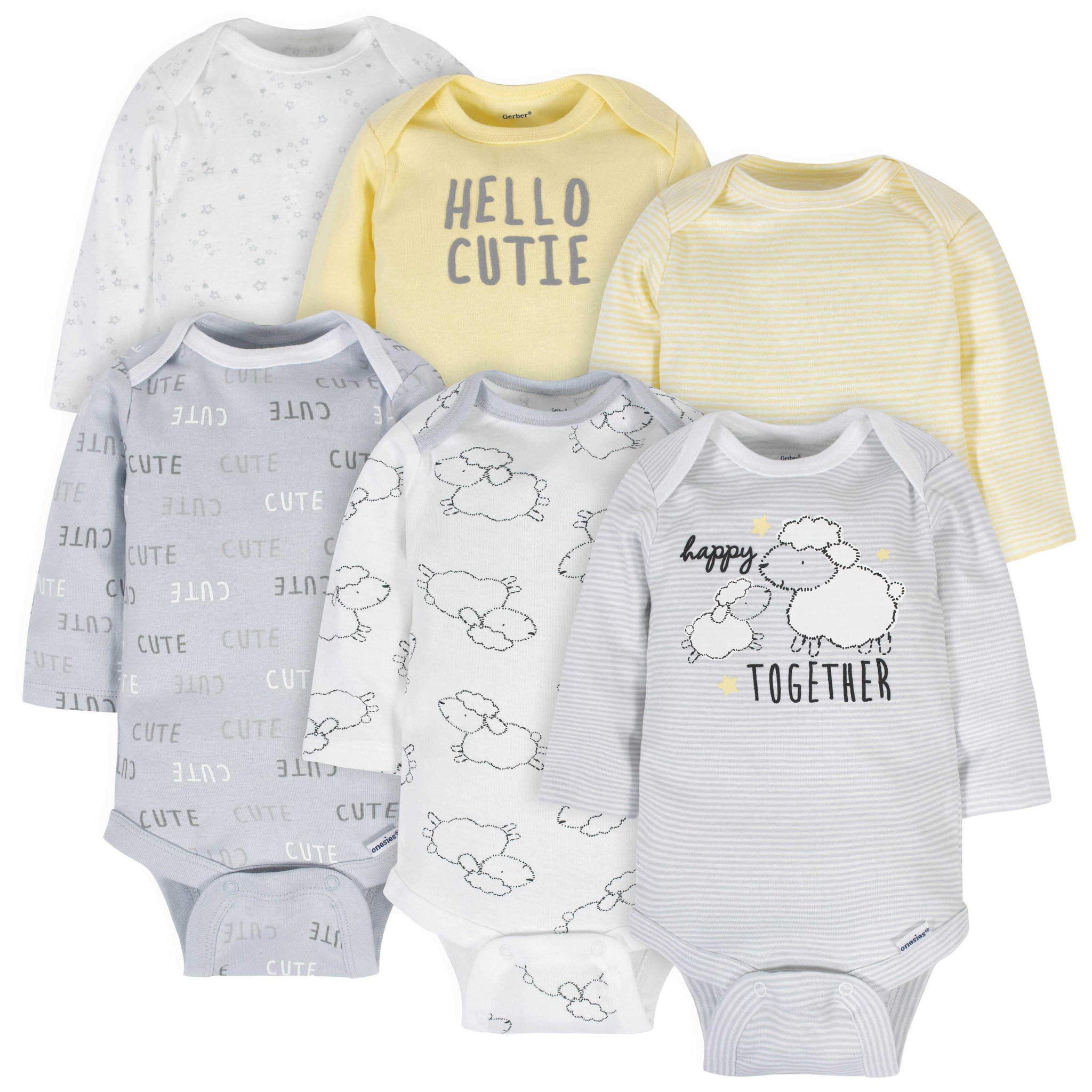 6-Pack Neutral Sheep Long Sleeve Onesies