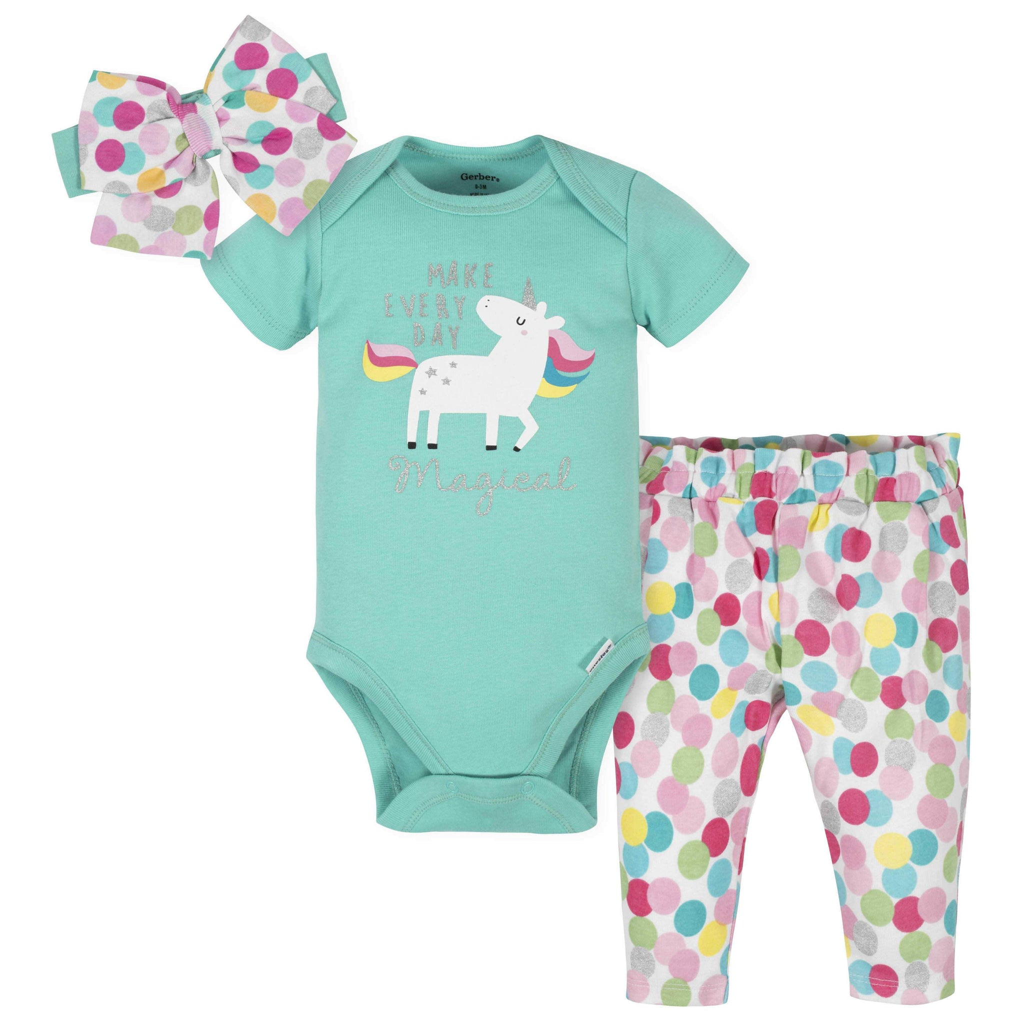 Gerber® 3-Piece Baby Girls Unicorn Bodysuit, Pants & Cap Set