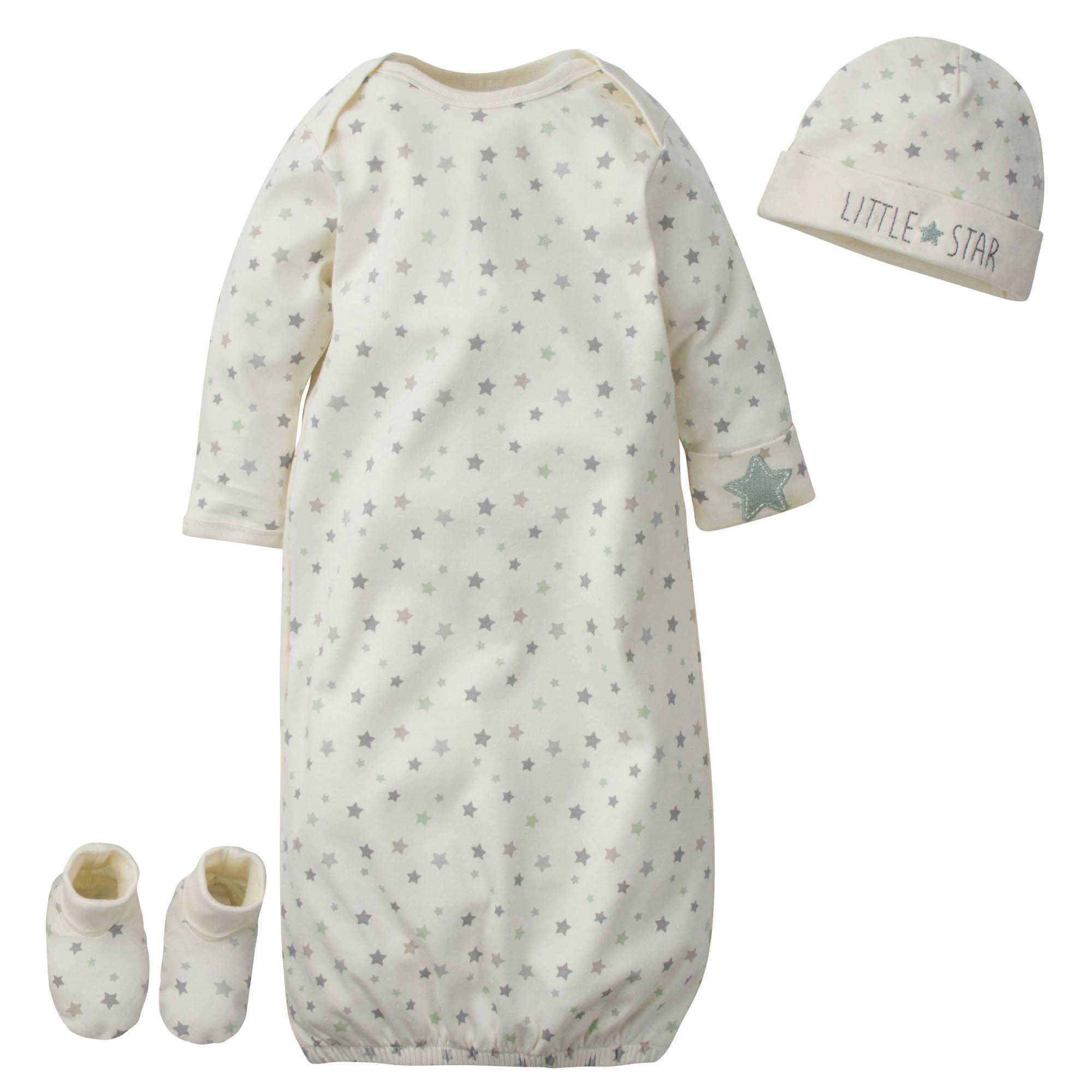 Gerber® 3-Piece Baby Little Star Organic Gown, Cap & Booties Starter Set