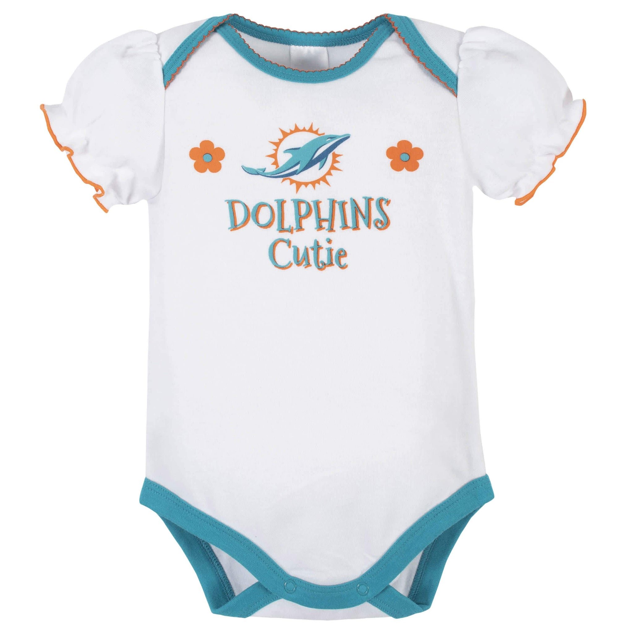 Miami Dolphins Baby Girls Short Sleeve Bodysuits-Gerber Childrenswear