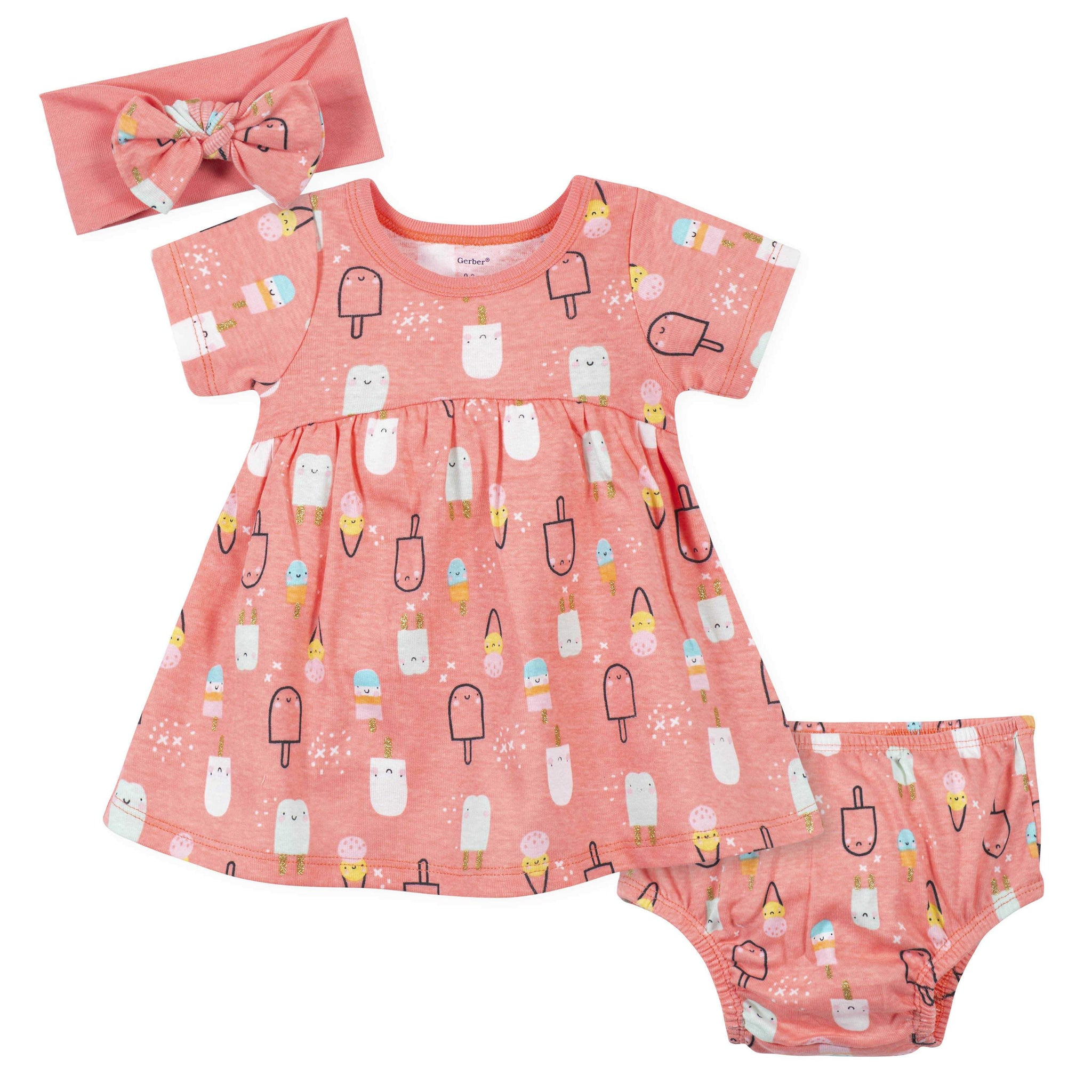 3-Piece Baby Girls Popsicles Dress, Diaper Cover, and Headband Set