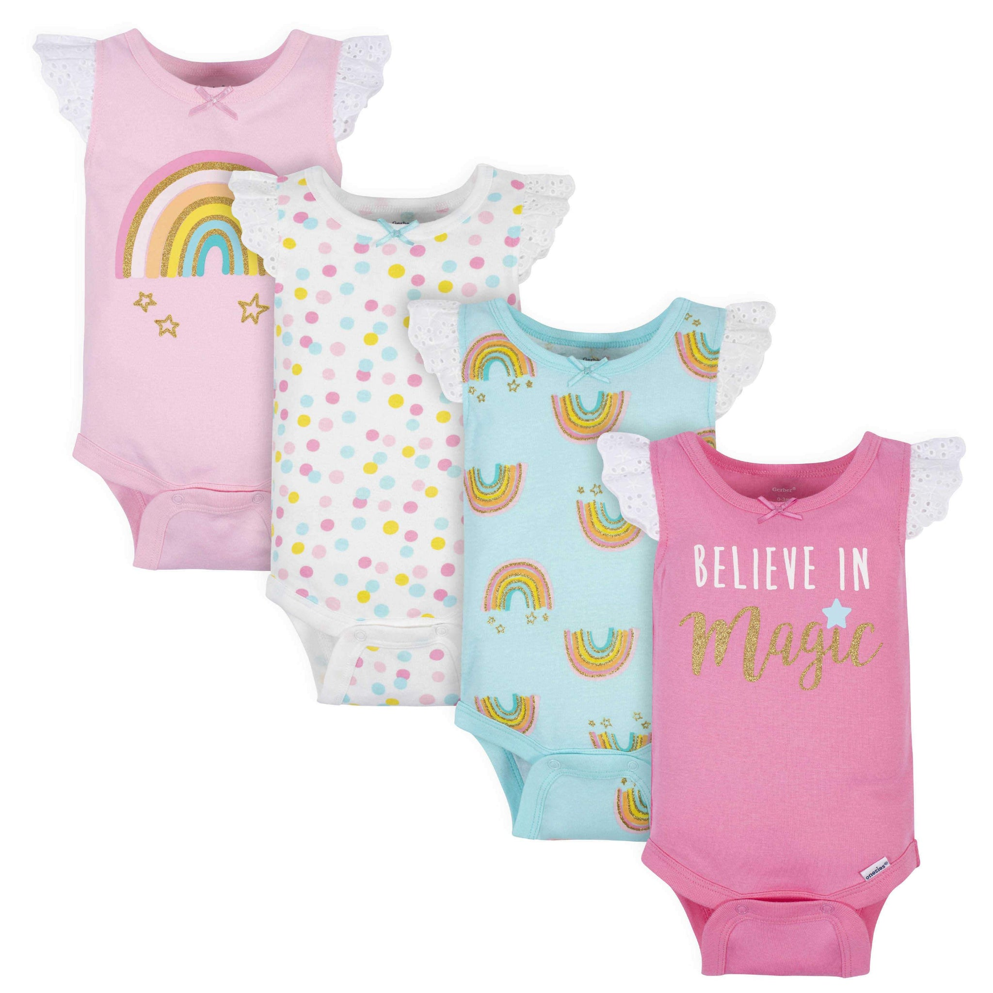 4-Pack Baby Girls Rainbow Tank Onesies Bodysuits