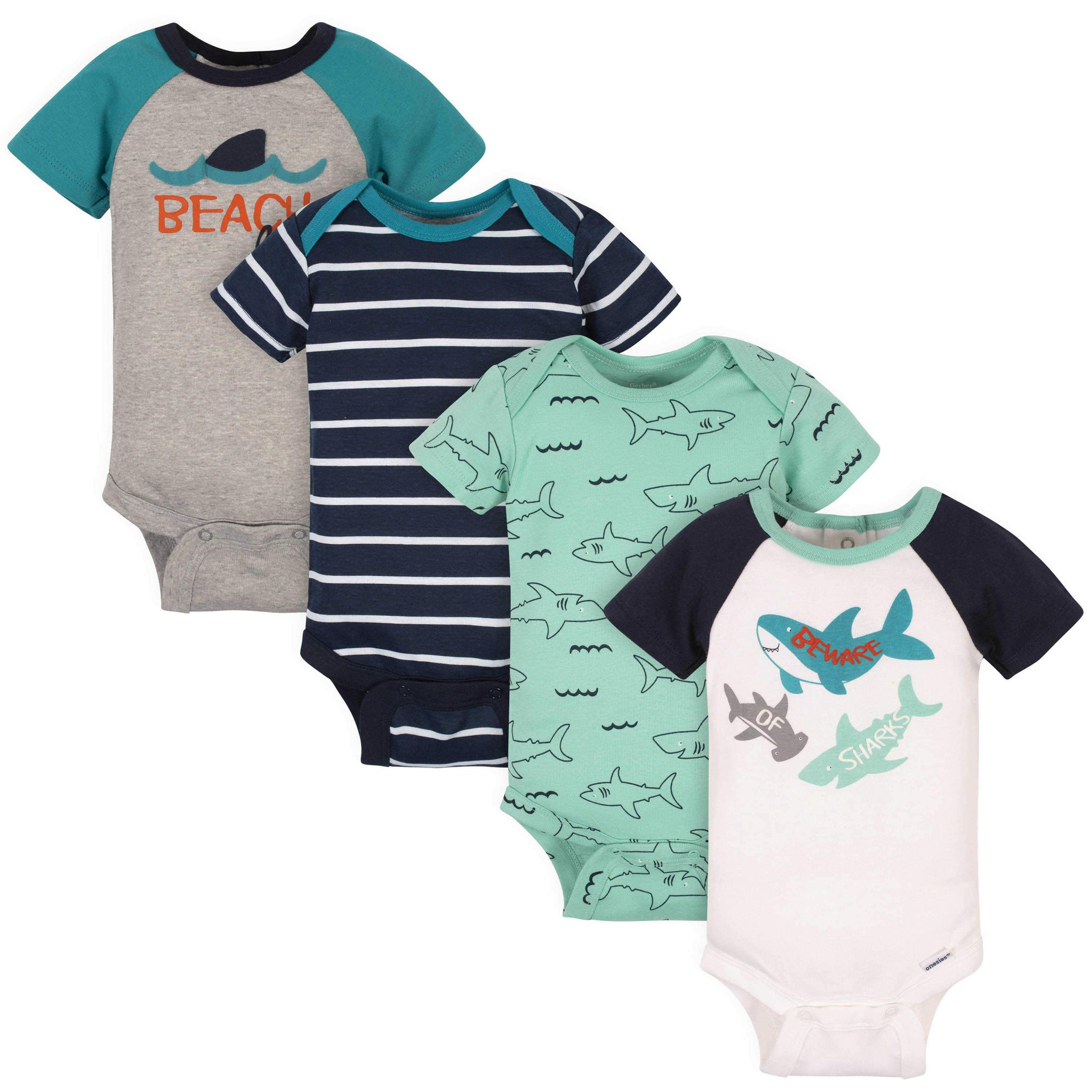 Gerber® 4-Pack Baby Boys Shark Short Sleeve Onesies Bodysuits