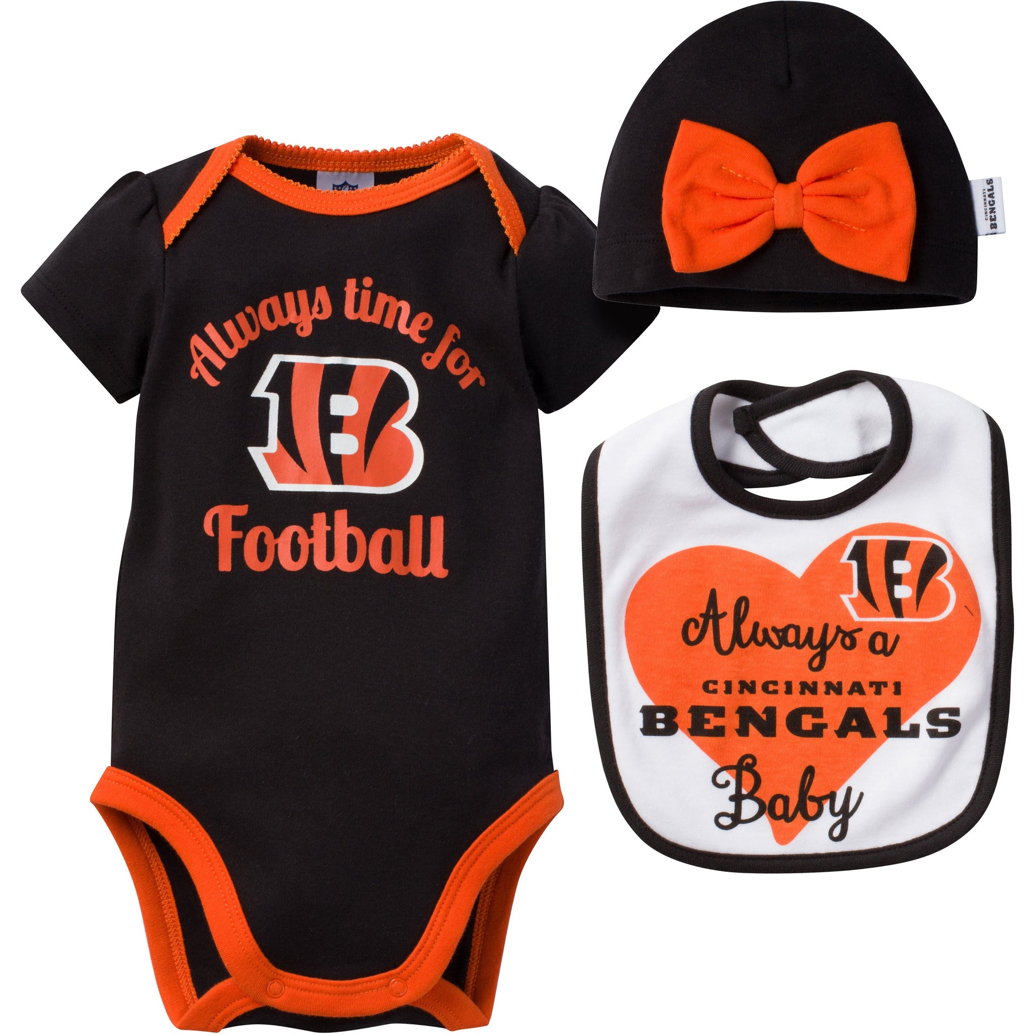 NFL Bengals 3-Piece Newborn Girl Short Sleeve Bodysuit, Bib and Cap Set-Gerber Childrenswear