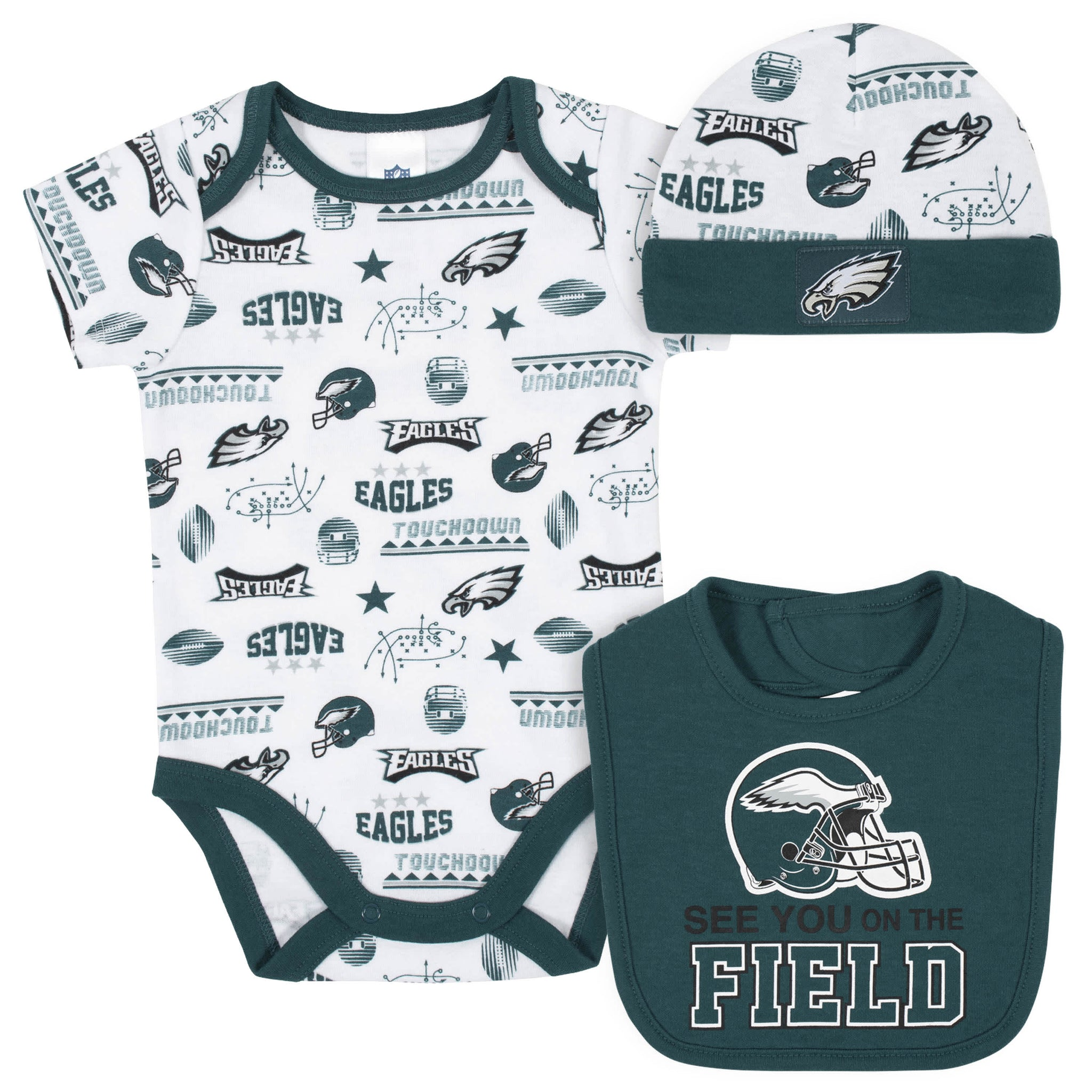 Philidelphia Eagles 3-Piece Baby Boys Bodysuit, Bib, and Cap Set-Gerber Childrenswear