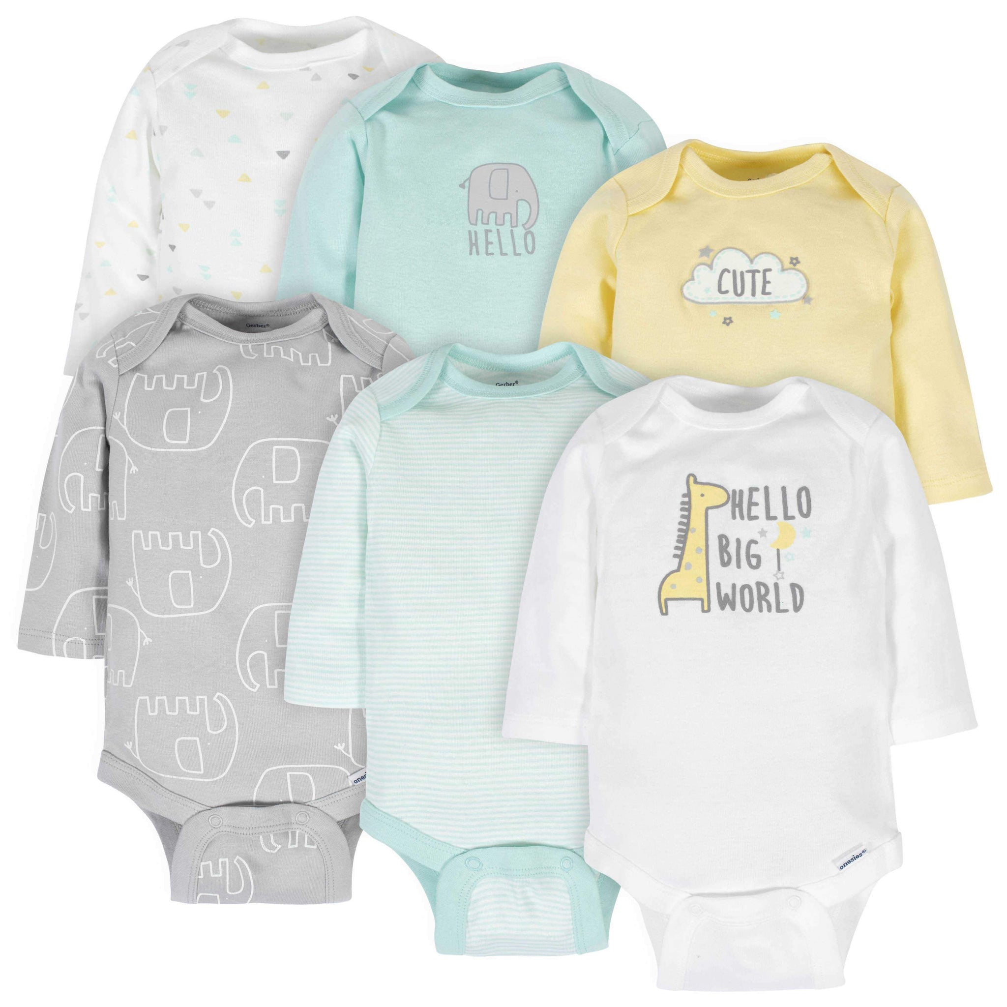 6-Pack Neutral Animals Long Sleeve Onesies