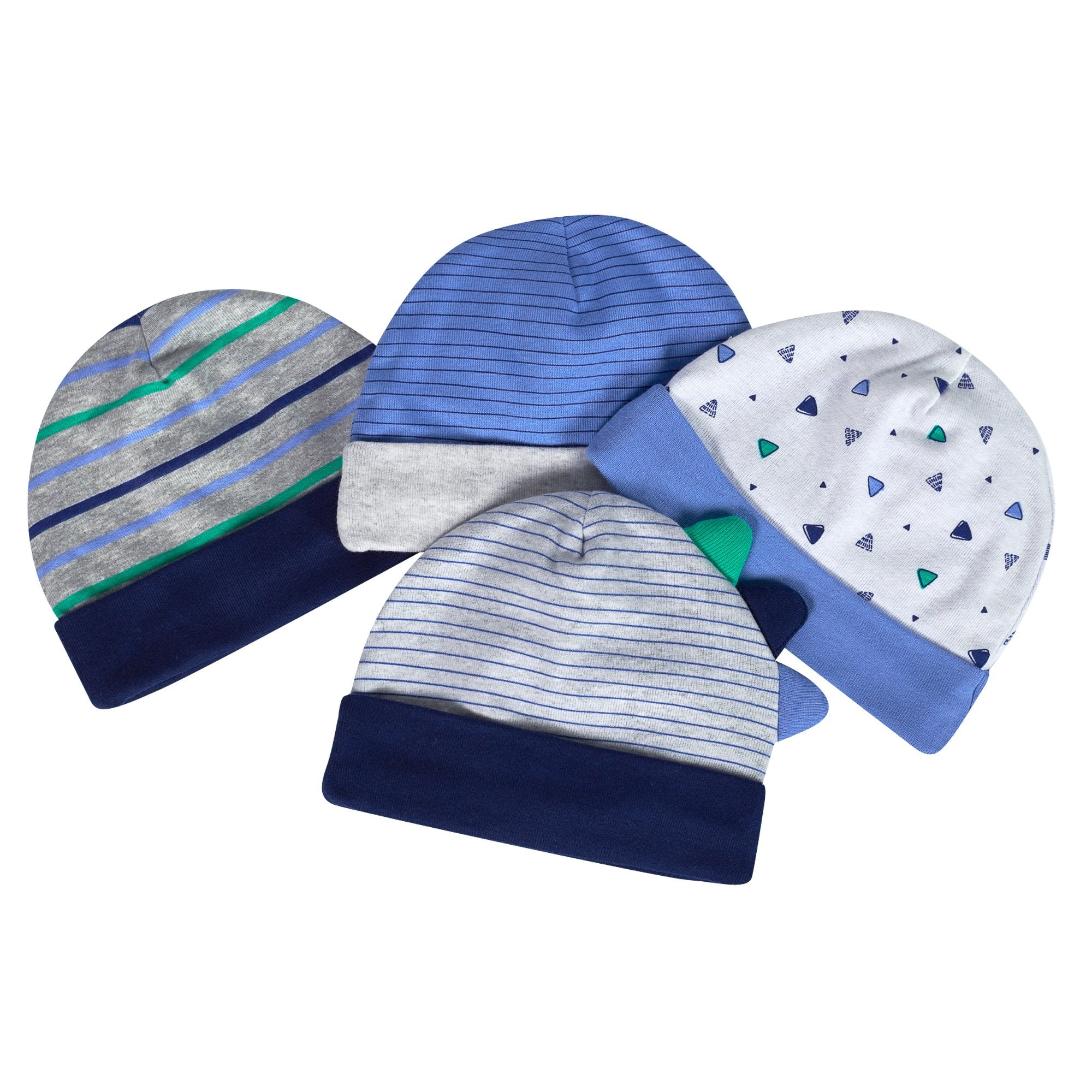 Just Born® Organic Baby Boys 4-Pack Lil' Dino Hats-Gerber Childrenswear
