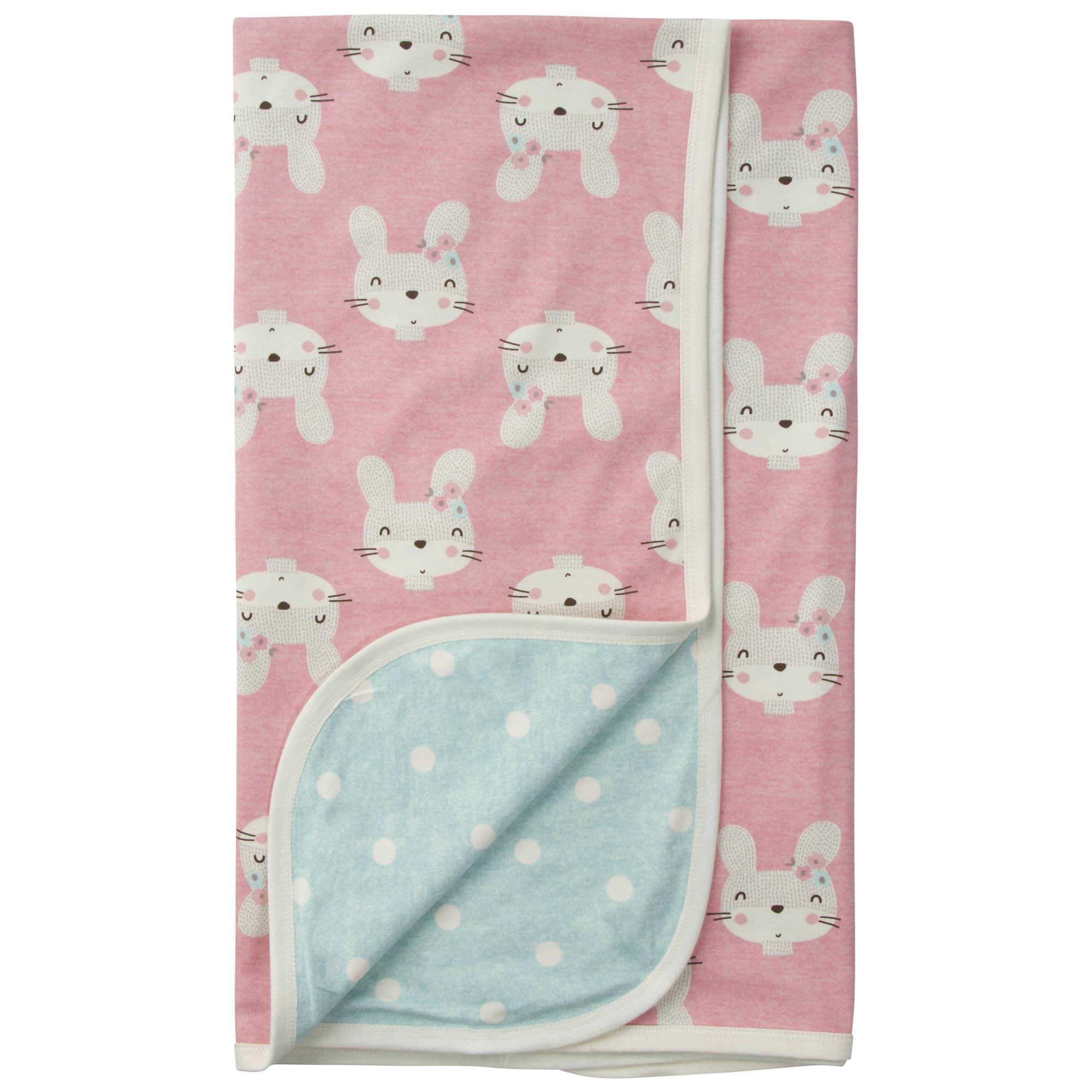 Gerber® Baby Girls Bunny Organic Reversible Knit Blanket