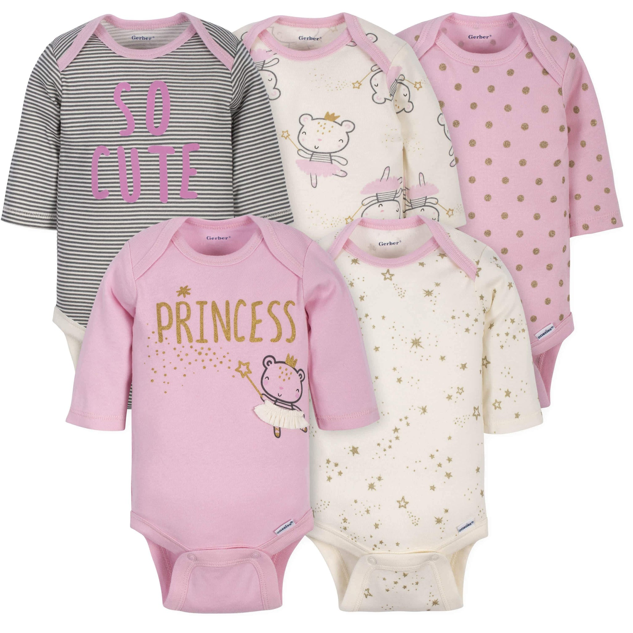 Gerber® 5-Pack Baby Girls Princess Long Sleeve Onesies® Brand Bodysuits