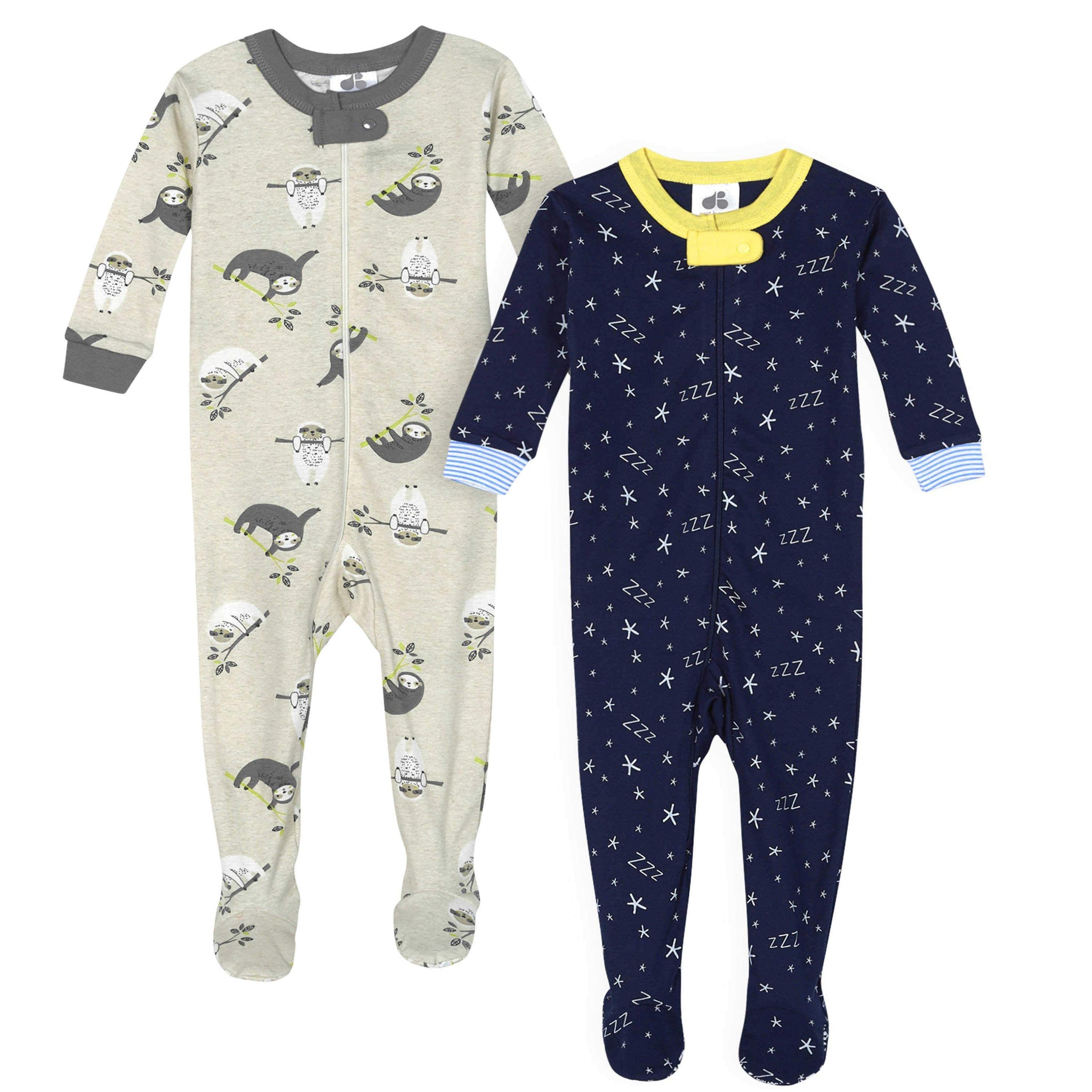 "Just Born 2-Pack Baby Boys' ""Zzzzz"" & Sloth Organic Sleep 'n Play-Gerber Childrenswear"
