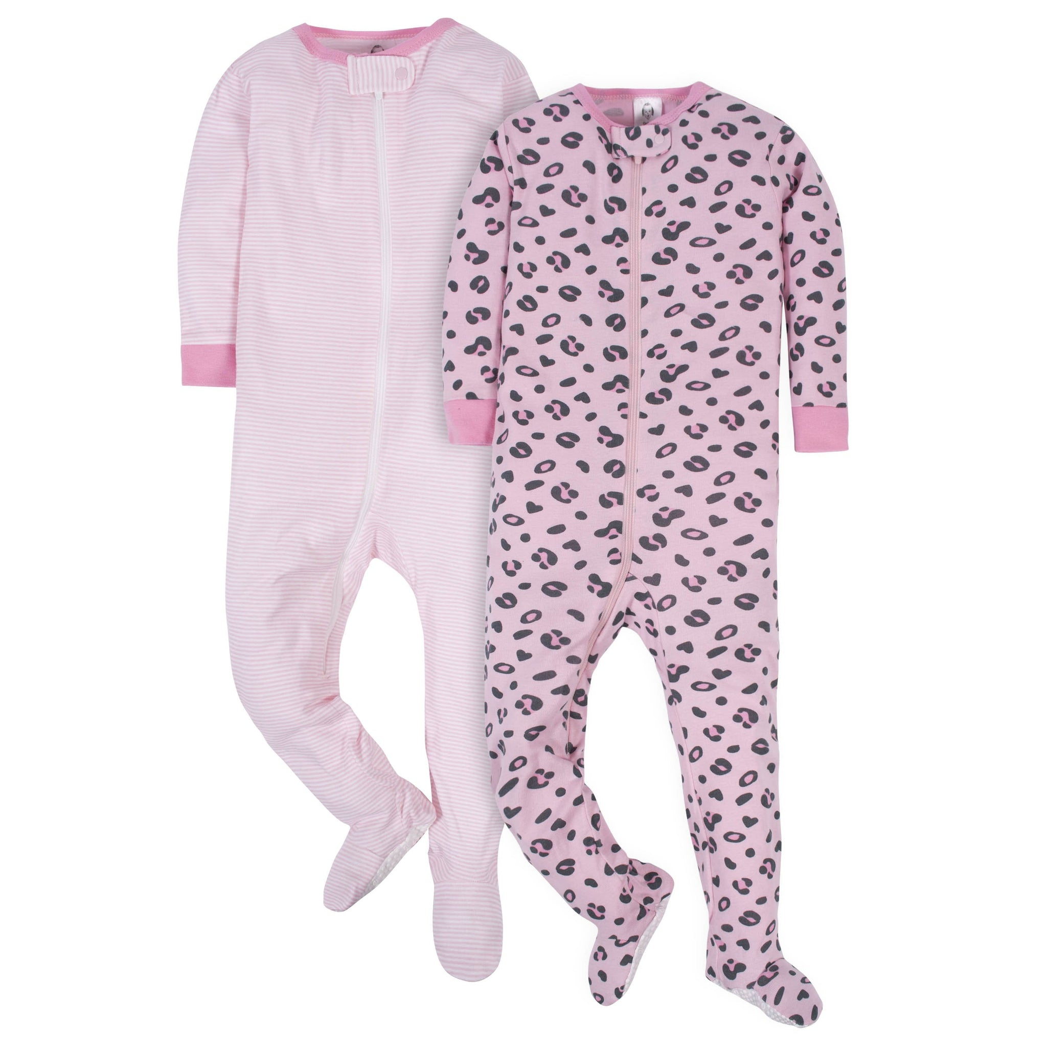 2-Pack Baby Girls Footed Union Suits - Leopard