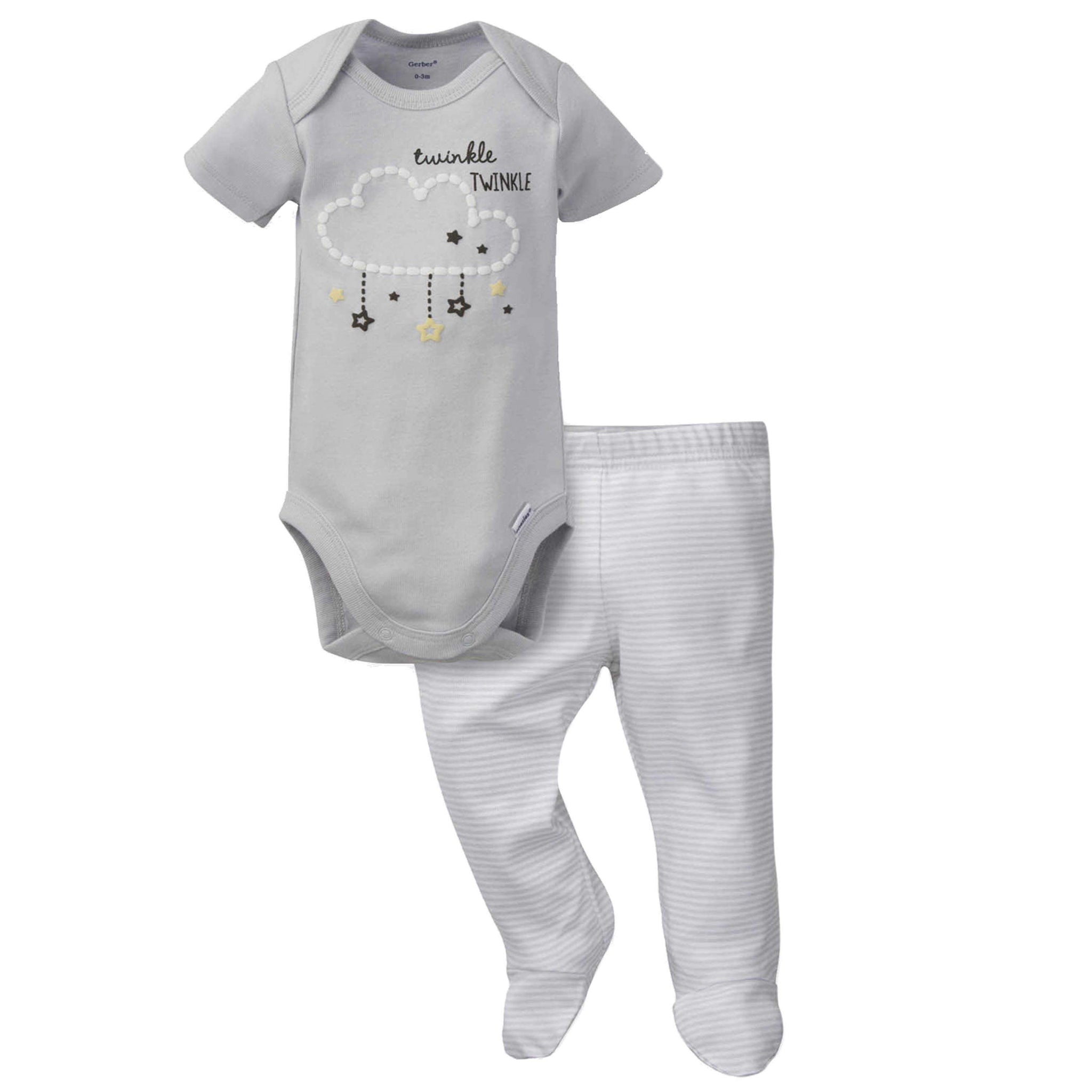 Gerber® 2-Piece Baby Neutral Clouds Bodysuit and Pant Set