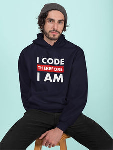 I code therefore I am programmer Hooded Sweatshirt