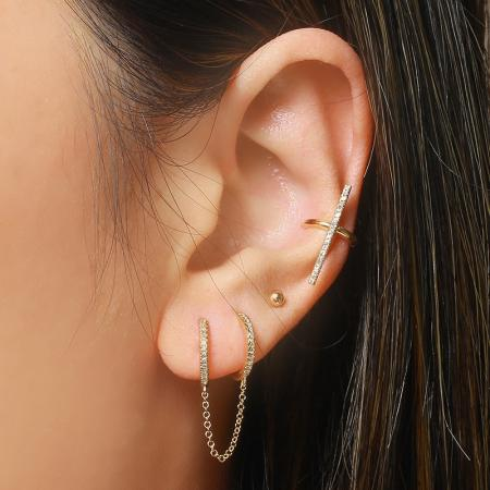Diamond Bar Ear Cuff - VaskiaJewelry
