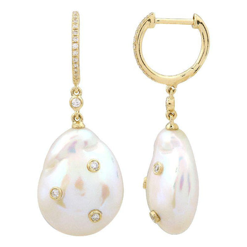 Baroque Pearls with Diamond Earrings