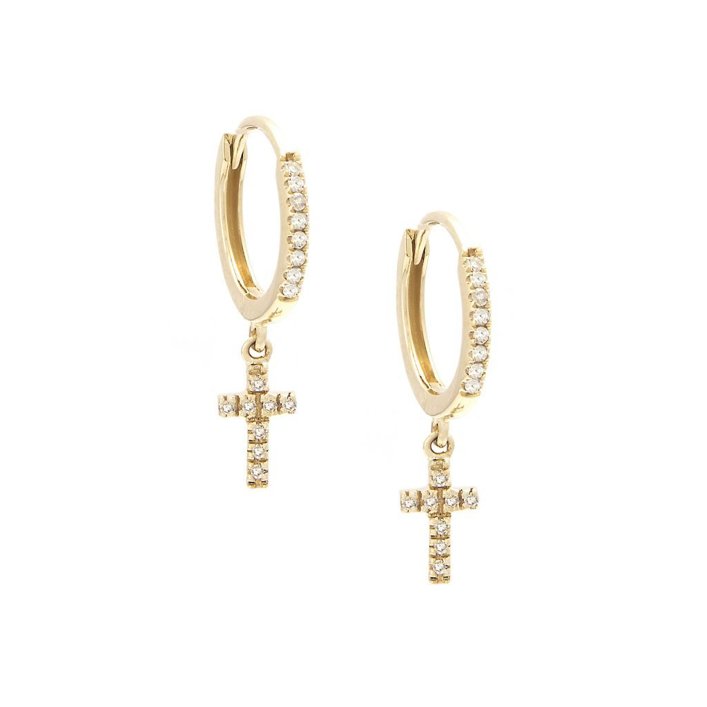 Diamond Cross Huggies Earrings - VaskiaJewelry