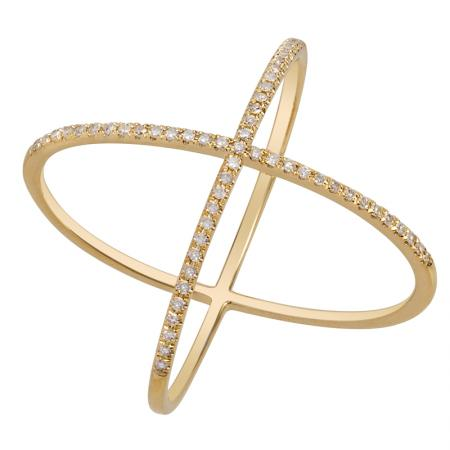 Diamond X Ring - VaskiaJewelry