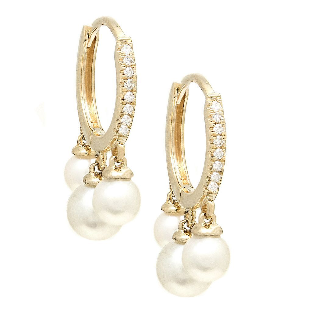 Diamond Huggies with Dancing Pearls - VaskiaJewelry