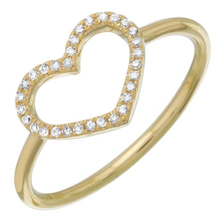 Diamond Heart Silhouette Ring