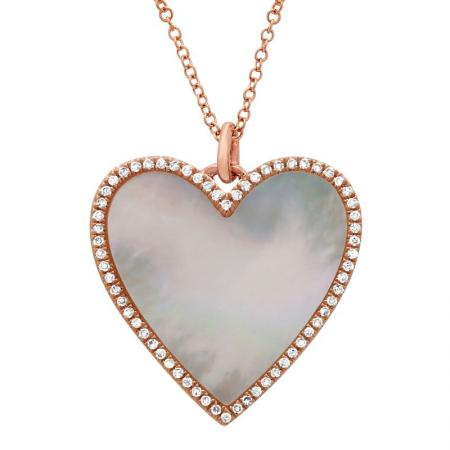 Large Mother of Pearl Heart Pendant with Chain