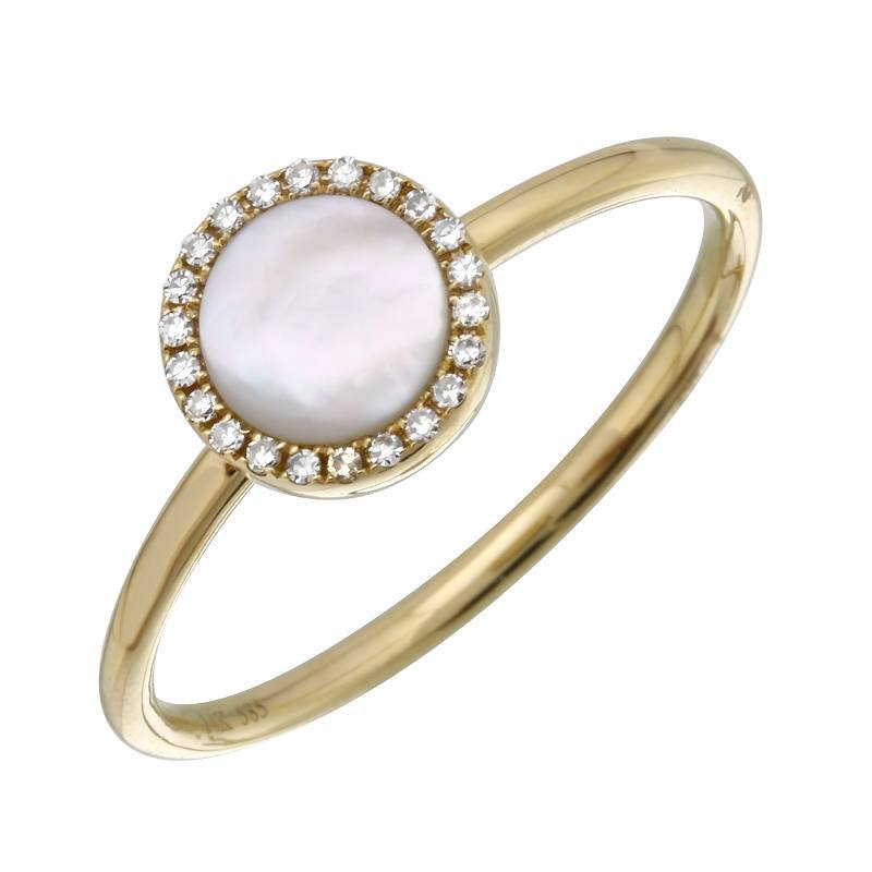 Mother of Pearl with Diamonds Ring - VaskiaJewelry