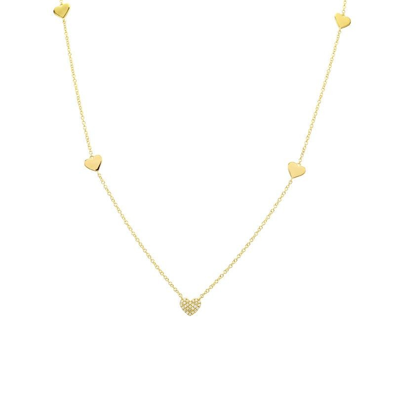 5 Heart Diamonds Necklace - VaskiaJewelry