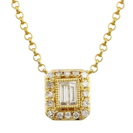Double Baguette Diamond Necklace