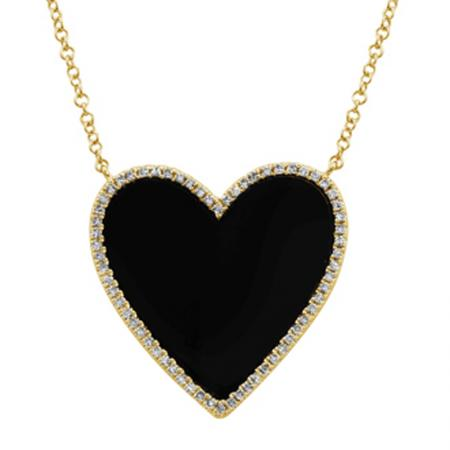 Black Onix Heart with Diamonds Necklace - VaskiaJewelry