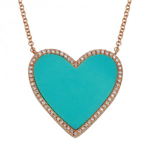 Turquoise Heart with Diamonds Necklace
