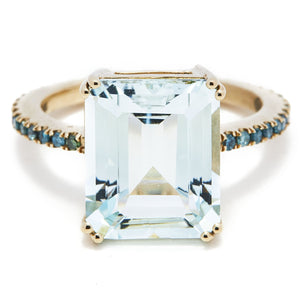 Aquamarine and Blue Diamonds Ring