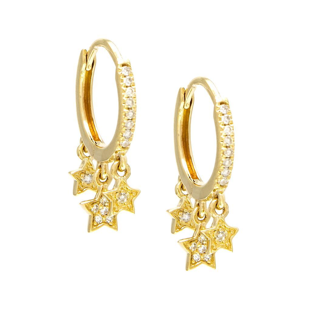 Diamond Huggies with Dancing Stars - VaskiaJewelry