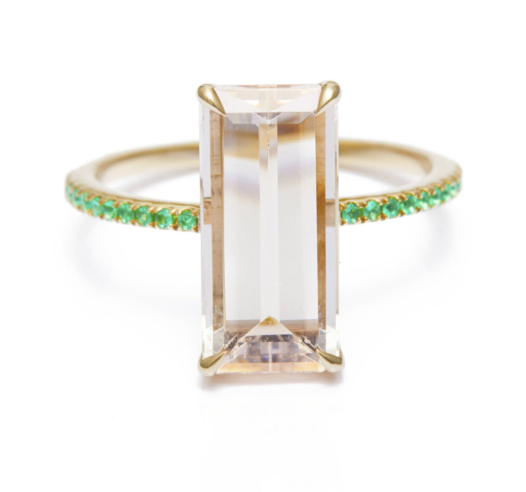 Morganite and Emerald Spring Ring