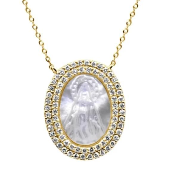 Diamond and Mother of Pearl Miraculous Virgin Necklace - VaskiaJewelry