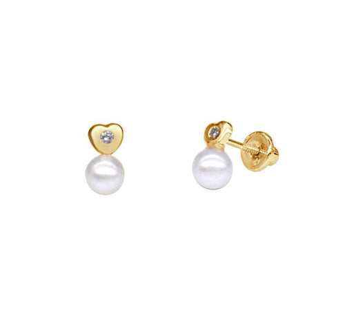 Heart with Diamond and Pearl Earrings