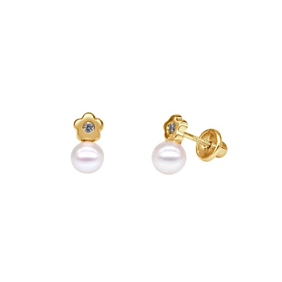 Flower with Diamond and Pearl Earrings